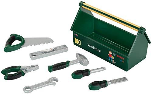 Theo Klein 8573 Cassetta degli attrezzi, Set di attrezzi da 7 pezzi, Solida cassetta con pratica maniglia...