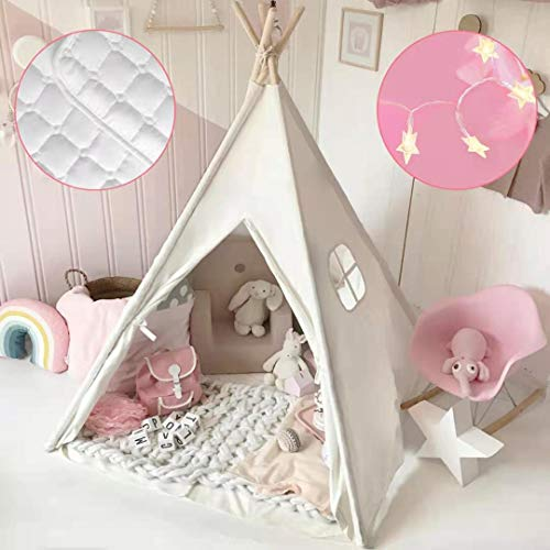 Tenda Bambina Teepee per Bambini in Tela di Cotone con tappetino imbottito & leggera & custodia per il...