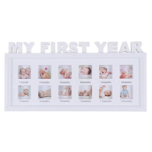 Portafoto per neonato, modello MY FIRST YEAR, il mio primo anno, cornice con 12 riquadri per foto ricordo...