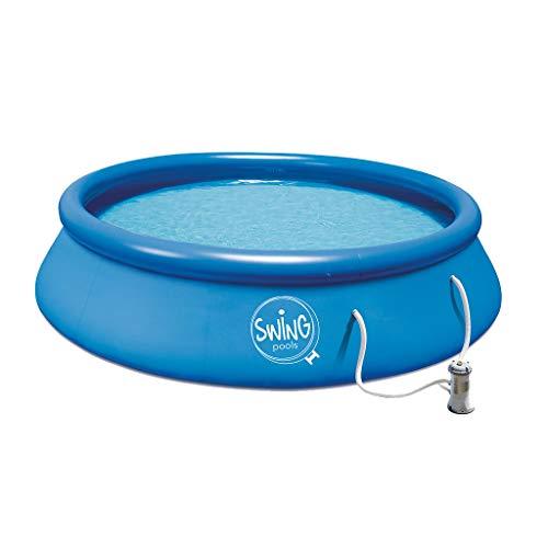 well2wellness® Quick-Up - Piscina da pavimento Swing, Ø 366 x 91 cm, con pompa filtrante da 12 Volt,...
