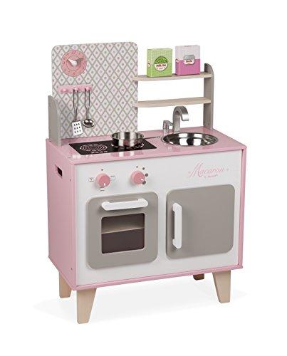 Janod - Cucina Macaron (legno), dotata di frigo e forno a microonde, gioco di imitazione sonoro, 5...