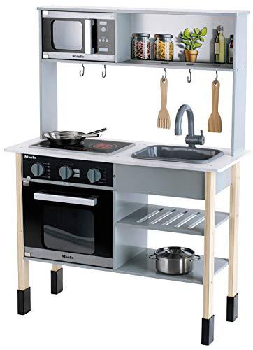Theo Klein 7199 Cucina Miele in legno bianca incl. piano di cottura con suono e luce, Accessori da cucina...