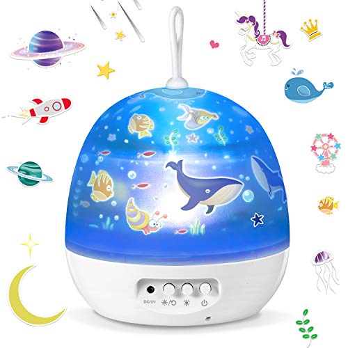 Lampada Proiettore per bambini,Sunnest 4 in 1 Lampada Proiettore di Stella ed Oceano con 8 modalità di...