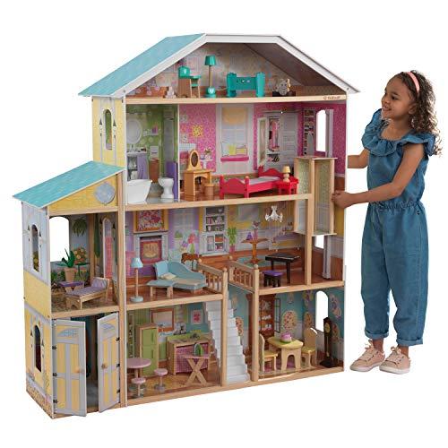 KidKraft 65252 Casa delle Bambole in Legno Majestic Mansion per Bambole di 30 Cm con 34 Accessori Inclusi...