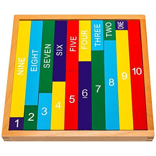 Giocattolo matematico 1-10 Montessori Natureich in legno per imparare a contare con barrette numerate in...