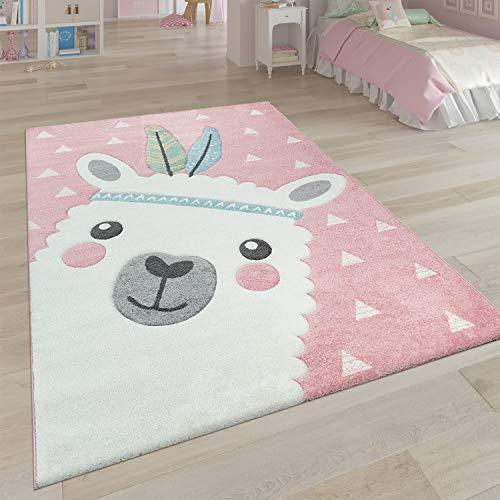 Paco Home Tappeto per la cameretta dei Bambini in Effetto 3D con Grazioso Design Alpaca nei Toni...