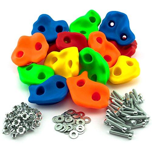 GO!elements 15 Prese Arrampicata per Bambini Set da Esterno incl. Materiale di Fissaggio | Pietre per...
