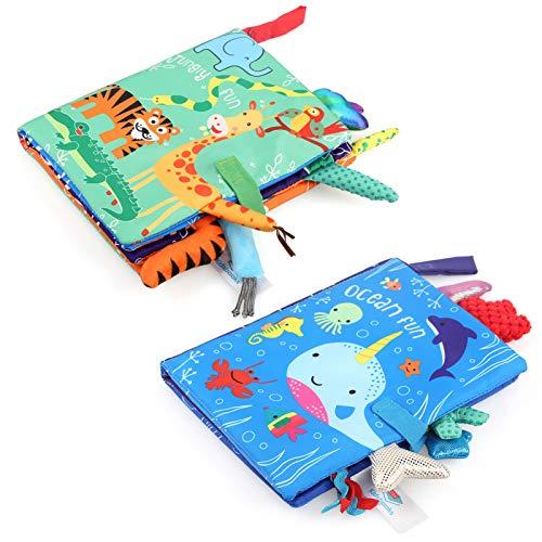 LEADSTAR Libretti per Bambini 0 3 Anni, Libro Stoffa, Bambino Cognition Libro Bebe, Quiet Books, 2 Pezzi...