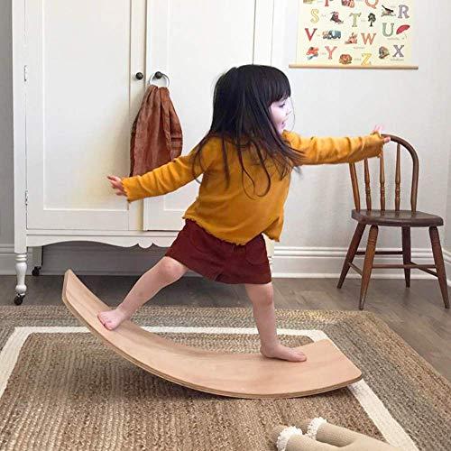 AUZZO HOME Bilancia per Bambini in Legno Tavola per bilanciere Wobble Waldorf Giocattoli Tavola per...