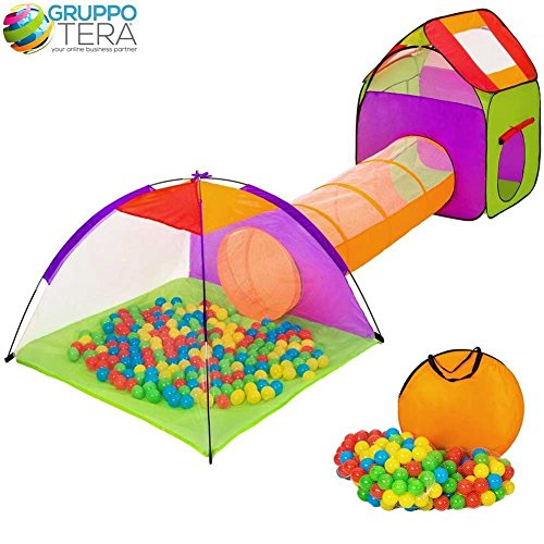 BAKAJI Tenda Igloo per Bambini con 200 Palline + Tunnel + Casetta Tenda da Gioco con Palline per Bambino...