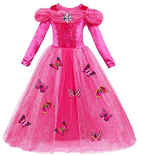 Le SSara Vestito fantasia della principessa Cosplay della ragazza lunga del manicotto (150, L-rose red)