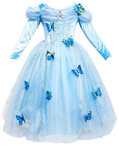 Le SSara Vestito fantasia della principessa Cosplay della ragazza lunga del manicotto (100, L-blue)