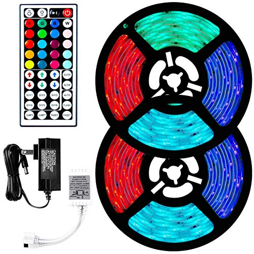 TUXWANG Striscia LED, Nastri Led RGB 10M 5050 IP65 Luci Led Colorate 12V Autoadesiva Led Light Strip con...