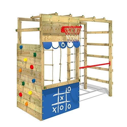 WICKEY Parco giochi in legno Smart Action blu, Scala svedese, Barre di scimmia, Struttura da gioco con...