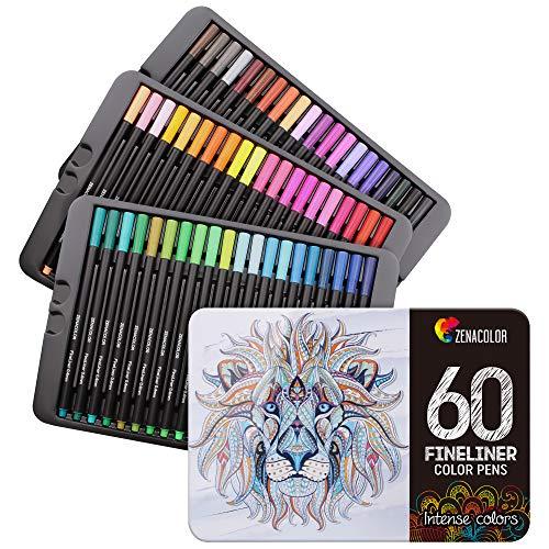 60 Penne Colorate Punta Fine Zenacolor - 60 Colori Unici 0.4mm - Ideali per i Mandala per Adulti