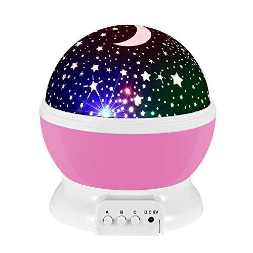 Lampada di Illuminazione Notturna, Sunvito Rotante Stella Luna Cielo Proiettore per Bambini Camera da...