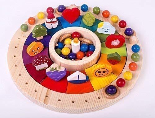 Calendario Waldorf Montessori in legno 33 cm per bambini, gioco educativo