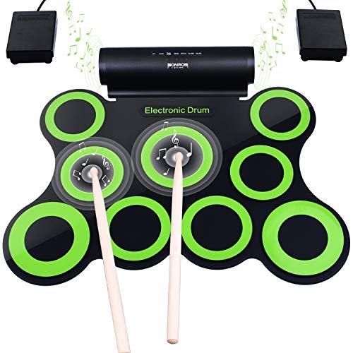 Set di Batteria Elettronica, bonrob Roll Up Percussioni Midi Drum Pad Kit con Cuffie, Pedali del Tamburo...