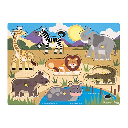 Melissa & Doug- Safari Puzzle in Legno, Multicolore, 19054