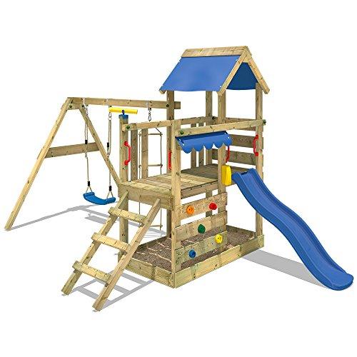 WICKEY Parco giochi in legno TurboFlyer Giochi da giardino con altalena e scivolo blu, Torre di...