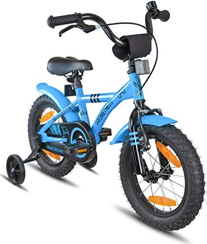 Prometheus Bicicletta per Bambini e Bambine da 4 Anni nei Colori Blu e Nero da 14 Pollici con rotelle e...