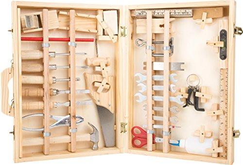 2241 Valigia attrezzi Deluxe small foot in legno, con accessori, come martello, sega, pialla ecc., 48...