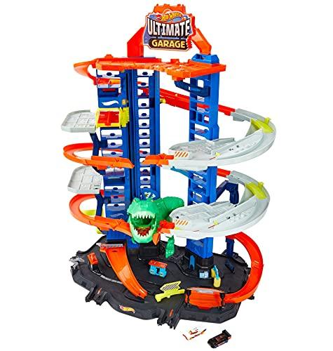 Hot Wheels - Ultimate Garage, Assalto del T-Rex Robot, con 2 Macchinine incluse, Giocattolo per Bambini...