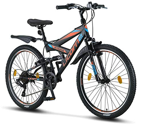 Licorne Bike Strong V 26 Pollici Mountain Bike Fully, MTB, Adatto a Partire da 150 cm, V Freno Anteriore...