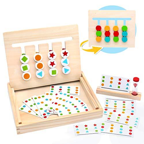 Symiu Montessori in Legno Puzzle Matematica Ordinamento Gioco Giocattolo Educativo con Carte Modello e...