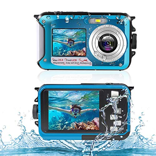 Macchina Fotografica Subacquea HD 2,7K Digitale Fotocamere Subacquea Digitale da 24MP Fotocamera...