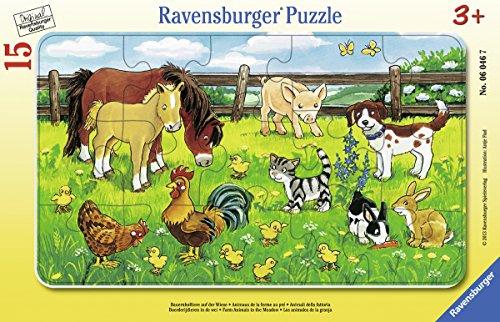 Ravensburger 06046 - Puzzle a Quadro, Animali della Fattoria, 15 Pezzi