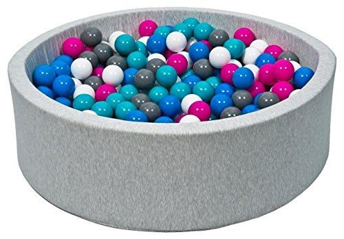 piscina gioco bambino palle palline 150 piscina secca (Colori delle palline: bianco, blu, rosa, grigio,...