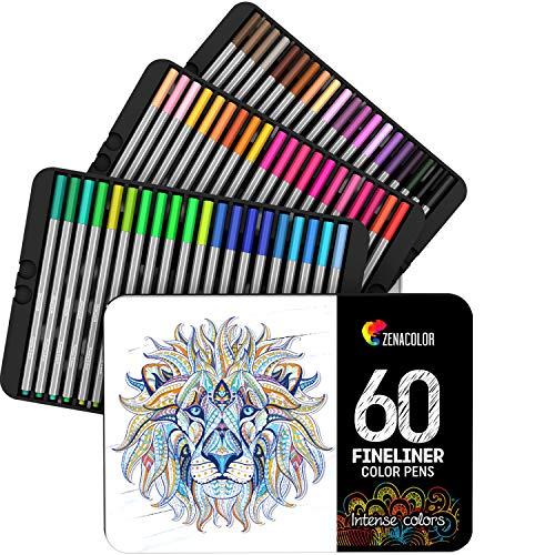 Zenacolor  60 Pennarelli a Punta Fine, Fineliners 60 Colori Unici – Penne FineLiner 0.4mm –...