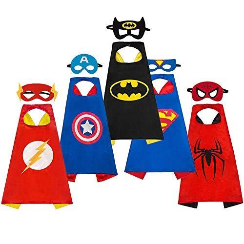 AYUTOY Costumi da Supereroi per Bambini-Regali di compleanno - Costumi Carnevale Mantelli e Maschere...