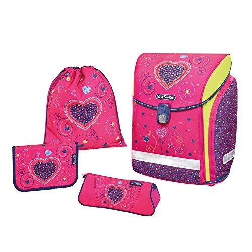 Herlitz Schulranzen midi plus Pink Hearts Zainetto per bambini, 38 cm, Rosa (Unbekannt)