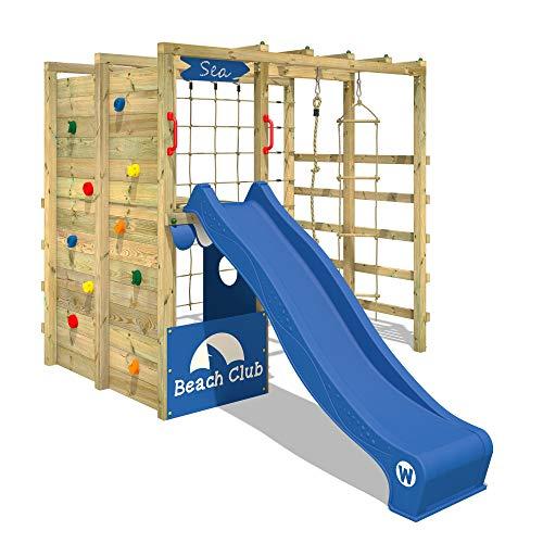 WICKEY Parco giochi in legno Smart Allstar Giochi da giardino con scivolo blu, Scala svedese, Barre di...