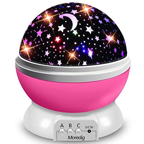 Moredig - Lampada Proiettore Stelle Bambini, Luce Notturna Bambini con 8 Colori Luci & 360° Rotazione,...