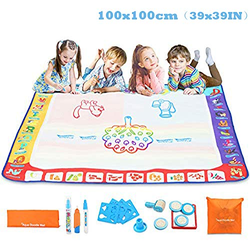 Fansteck Tappeto Acqua Doodle, Tappeto da Disegno per Bambini Misura Grande (100×100cm) con 3 pennelli...