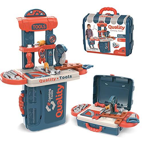 Dreamon Banco Lavoro Bambini 3 in 1 Attrezzi da Lavoro Caso Kit Regalo per Bambini