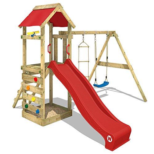 WICKEY Parco giochi in legno FreeFlyer Giochi da giardino con altalena e scivolo rosso, Torre di...