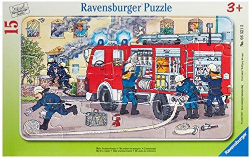 Ravensburger 06321 La mia macchina dei pompieri- Puzzle incorniciato da 15 pezzi