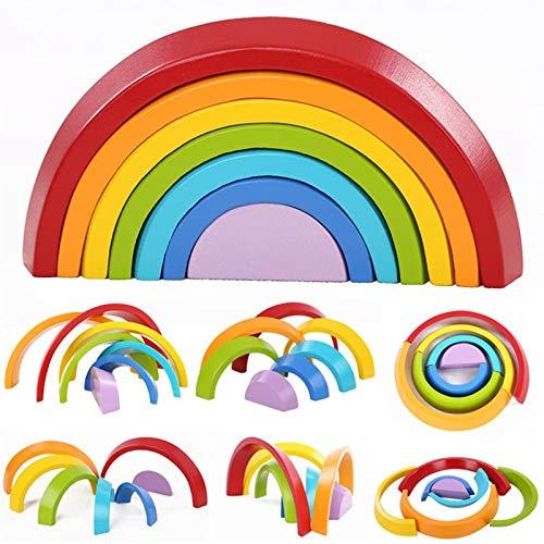king do way 7 Colori Legno Arcobaleno Blocchi, Giocattoli Educativi in Legno per Bambini, Blocchi in...