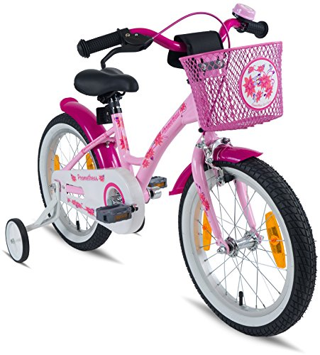 Prometheus Bicicletta da bambina dai 5 anni da 16 pollici nei colori rosa e lilla con rotelle e...