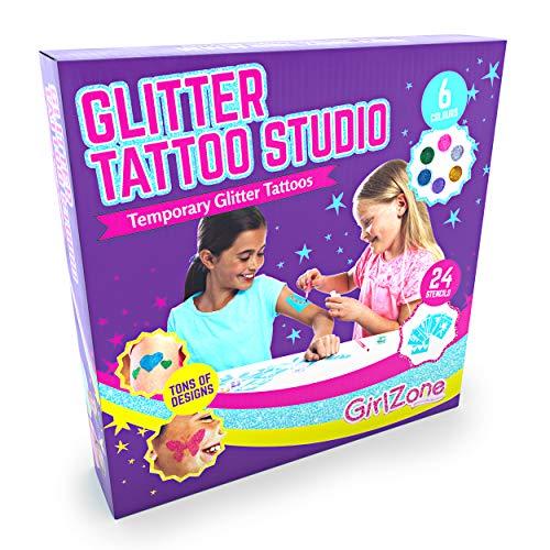Regalo Ragazza -Glitter Tattoo Studio, Set Tatuaggi Glitter Bambina - Set 33 Pezzi con Glitter per Tatoo,...