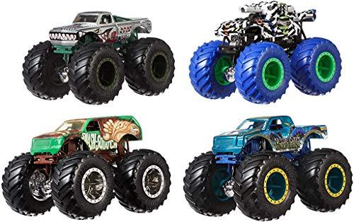 Hot Wheels, Monster Truck Confezione da 4 Veicoli Assortiti con Ruote Giganti, in Scala 1:64, Giocattolo...