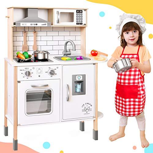 Tiny Land Cucina-Giocattolo-per-Bambini con 18 Accessori per Cibo e pentole Giocattolo Set da Gioco Set...