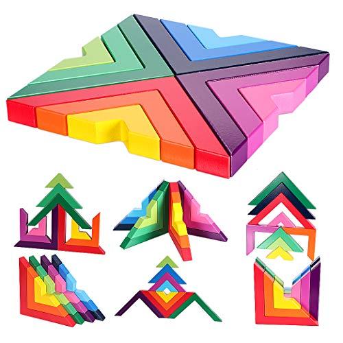 Lewo di Legno Arcobaleno Gioco impilabile Geometria Costruzioni Creativo annidamento Giocattoli educativi...