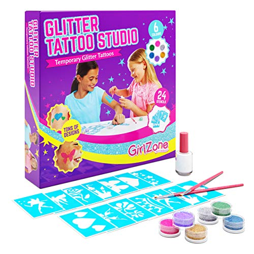 Regalo Ragazza - Glitter Tattoo Studio, Set Tatuaggi Glitter Bambina - Set 33 Pezzi con Glitter per...