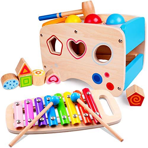rolimate Giocattolo di Martellamento in Legno + Xilofono 8 Note, Giocattolo educativo in Legno per 1 2 3...