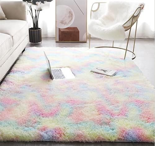 Tappeto peluche, tappeto soffice, tappeto antiscivolo per la casa, zerbino quadrato, adatto per la...